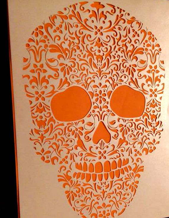Infilled Sugar Skull Template Personal Use By