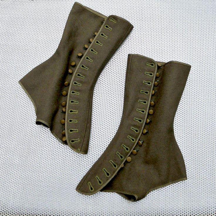 Dieselpunk fashion | ... - Spats - WW1 Military Wool Spats - Dieselpunk - Army Boot Leggings. Please gimmee ~:D Very cool spats.