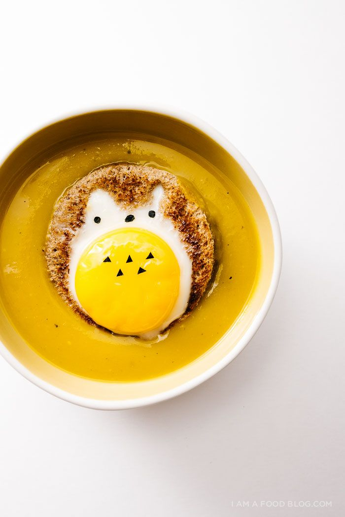 easy kabocha soup with totoro egg in a hole recipe - www.iamafoodblog.com #totoroweek #totoro #cutefood