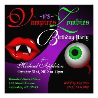 Vampires vs Zombies Halloween Birthday Invitations