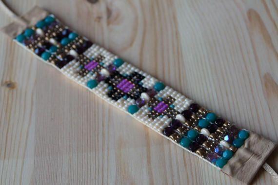 Etnische kralen armband, Boho stijl sieraden, Bead loom armband, Beaded armband, zaad bead doemde armbanden, handgemaakte armband, cadeau idee