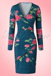 Lien & Giel Sara Dress in Blue Roses Petrol 100 39 15939 20150811 003W
