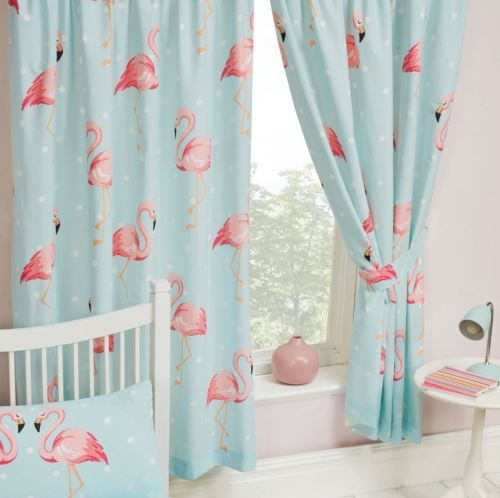 Details about FIFI FLAMINGO BLUE TURQUOISE CURTAINS LINED 66″ x 72″ KIDS GIRLS BEDROOM