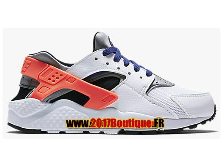 Nike Huarache Run (PS) Chaussure Nike Sportswear Pas Cher Pour Enfant Blanc/Rouge 654275-107