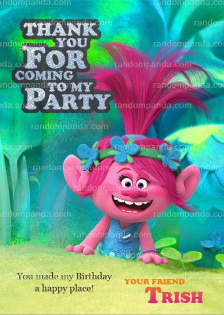 Trolls Thank You Card, Poppy and Branch Party, Trolls ...
