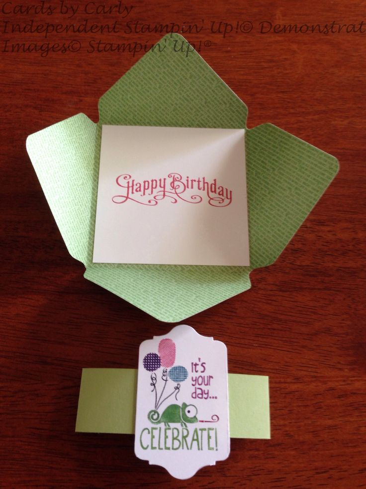 No website with this pin - Use the envelope punch board for any envelope size you desire to make a card like this!