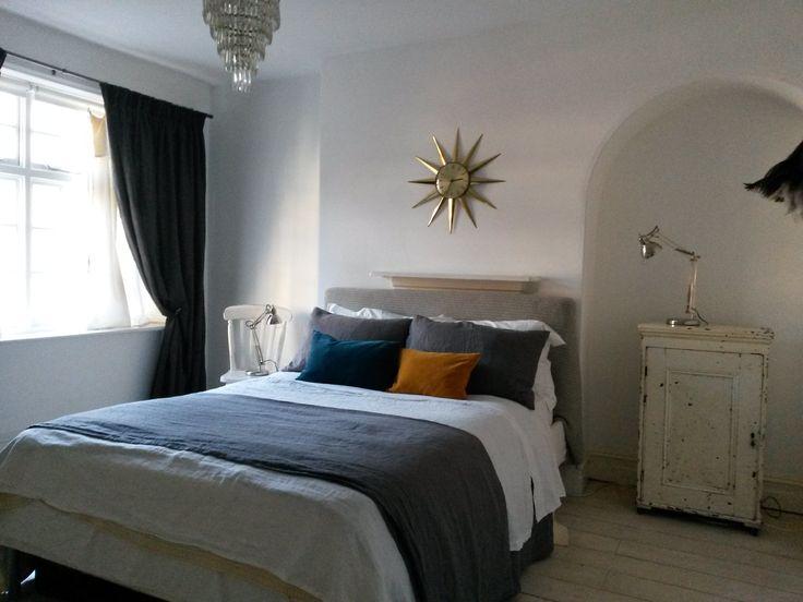 eclectic bedroom, homemade bed linens