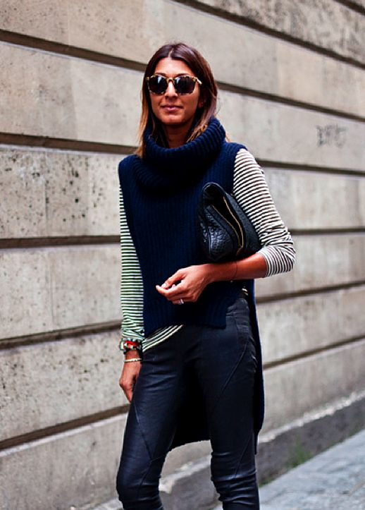 sleeveless turtleneck knit, striped top & leather #style # ...