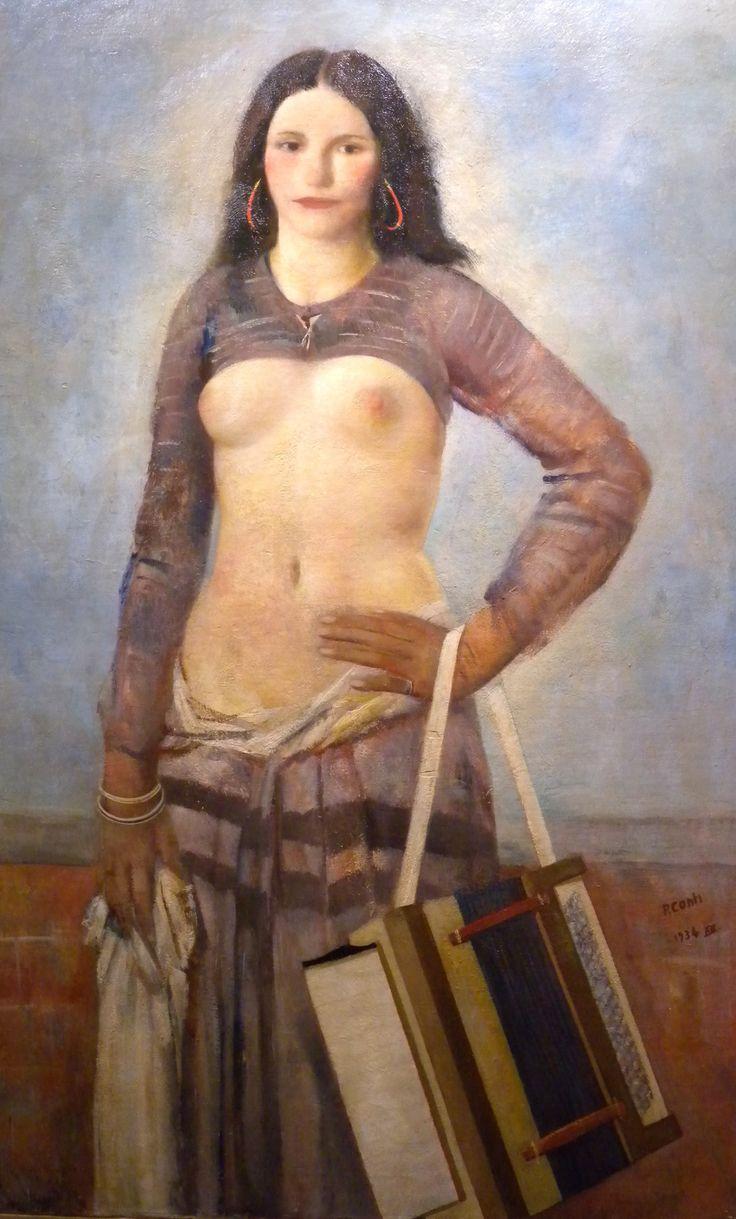 Primo Conti - Ritratto di donna con fisarmonica