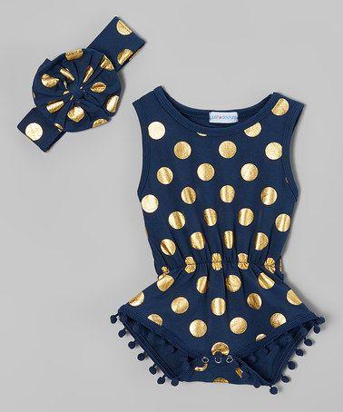 Look at this #zulilyfind! Navy Blue & Gold Dot Pom-Pom Romper & Headband - Toddler #zulilyfinds