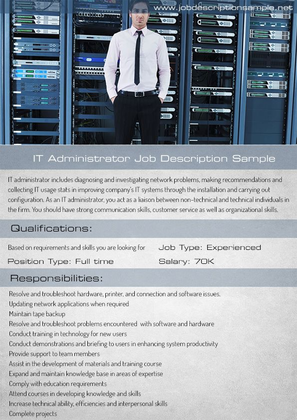 it administrator job description sample 10 best job description sample images
