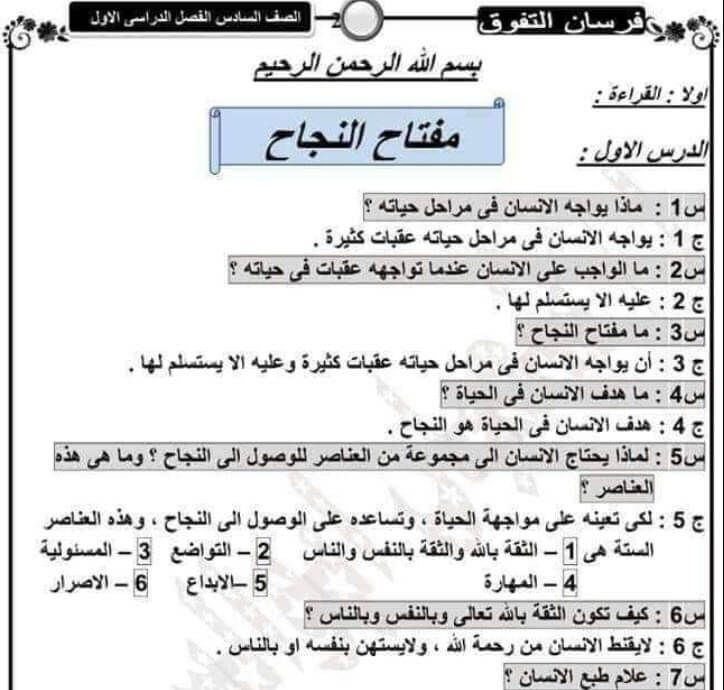 مراجعة لغة عربية للصف السادس الابتدائي الترم الأول 2020 Pdf Books Download Pdf Books Math