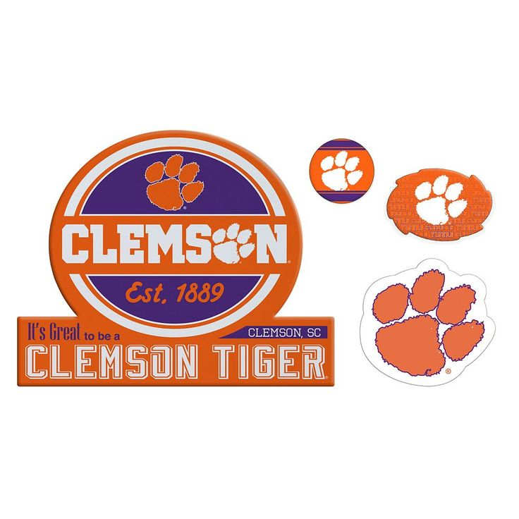 Clemson Tigers Game Day 4-Piece Magnet Set, Multicolor