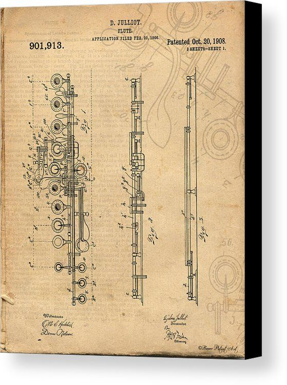 FLUTE PATENT DRAWING ART CANVAS PRINT: Antique / Vintage Patent Art Drawing of Flute. Click for purchase info or to view entire patent art drawing gallery.