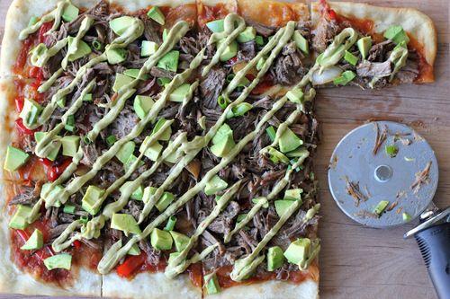 Carnitas Avocado Pizza with Chipotle Avocado Mayonnaise Drizzle l Damndelicious.net