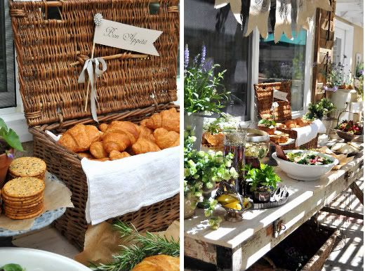 A French Breakfast Buffet--croissant basket with the cute brooch and sign,strawberries in a vintage silver plate