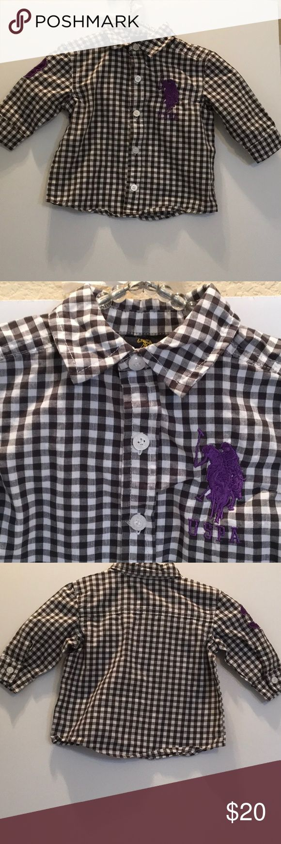 """POLO ASSOCIATION Black white Check Burton down 12M Polo Associatiion by Ralph Lauren brings his B&W checked Button Down shirt. HIghlights 2 3/4"""" PURPLE polo player USPA? A purple #3 is on right shoulder. SWEET shirt. 12M... 12"""" pit - pit...12 3/8  shoulder - edge.LIKE NEW 🏇🏼💜🏇🏼💜🏇🏼💜🏇🏼💜 U.S. Polo Assn. Shirts & Tops Button Down Shirts"""