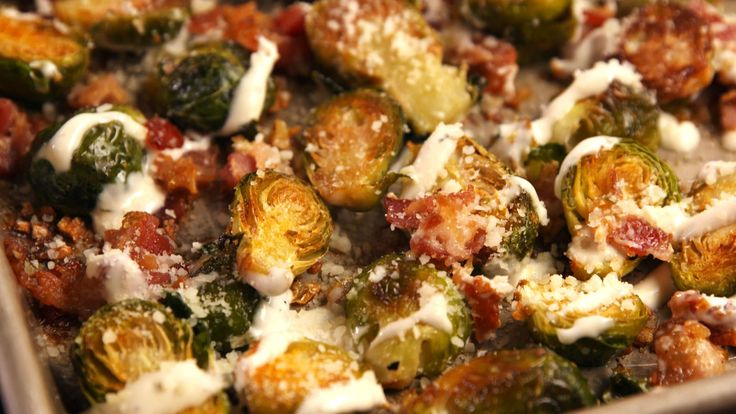 Bacon Ranch Brussels   - Delish.com--use Paleo ranch dressing and leave out the parmesan. Yum!