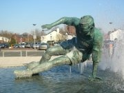 Sir Tom Finney outside Deepdale home of Preston North End FC.