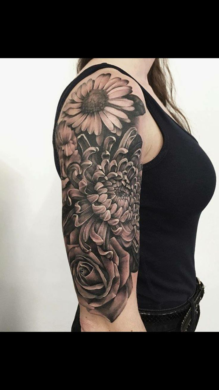 Image result for black and grey floral half sleeve tattoos