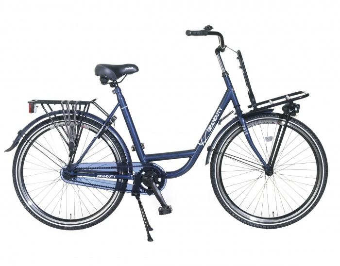Herenfiets Granduty Blauw met voorrek 26 inch.   bestel gemakkelijk online op Fietsen-verkoop.nl