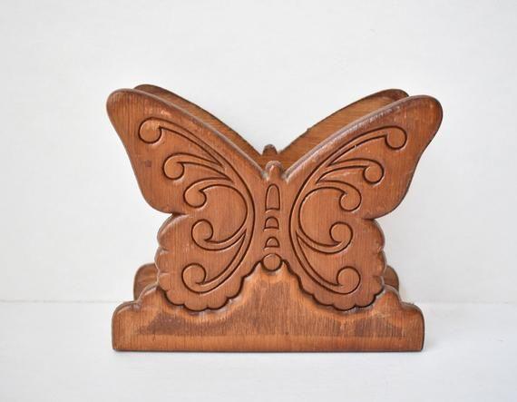 Vintage Carved Wood Napkin Holder/Letter Holder/Wood Butterfly/70's/Desk Organizer/Boho Bohemian (KD