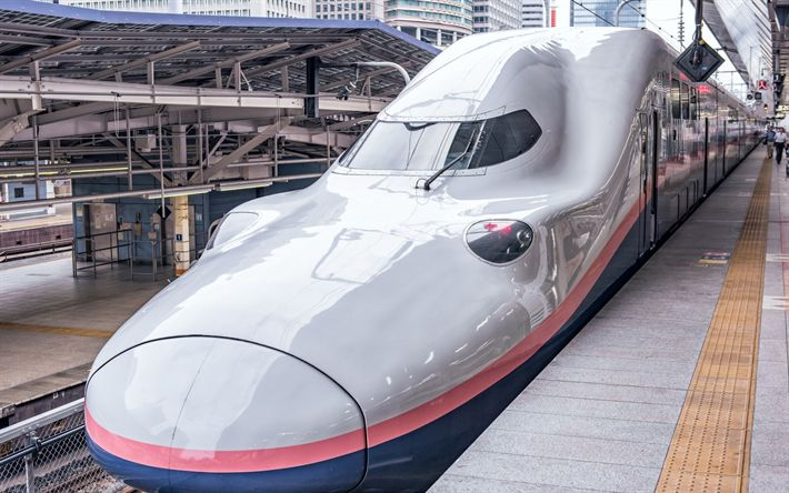 Download wallpapers japanese train, E4 Series Shinkansen, high-speed shinkansen train, Japan, modern trains