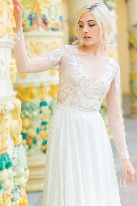 6af289f43a9 Boho wedding dress  Alexis  by AlexVeil Bridal with lace top