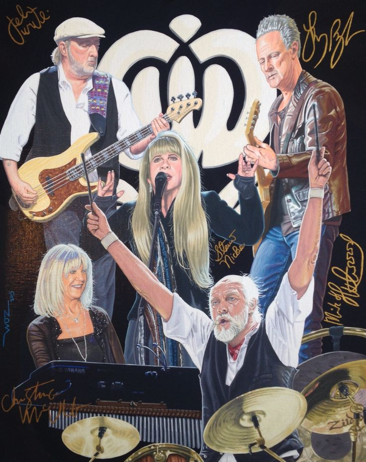 Artist WOZ fine art painting 'Fleetwood Mac' acrylic on canvas 16x20 inch. Limited edition prints on eBay, search artist WOZ.