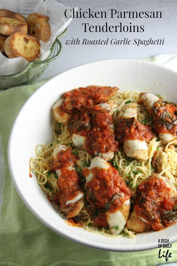 Chicken Parmesan Tenderloins with Roasted Garlic Spaghetti