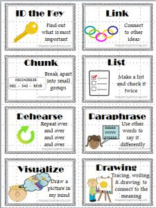 Visual cues to use when teaching memory strategies