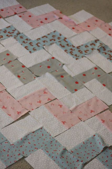 Chevron Baby Quilt: Like the idea of sewing scrappy rectangles together then forming chevrons
