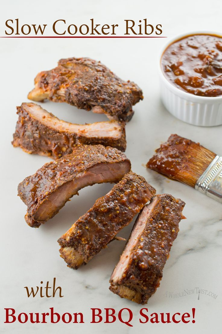 These Slow Cooker Ribs with Bourbon BBQ Sauce are fall-off-the-bone ...