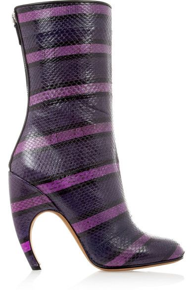 Givenchy - Ankle Boot In Watersnake And Eel Patchwork - Purple - IT39.5