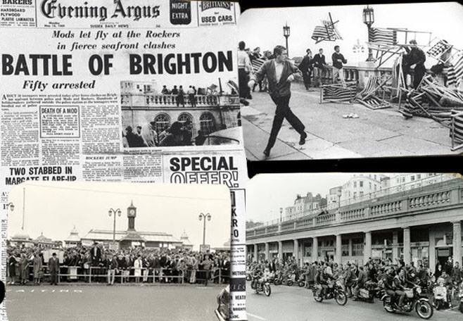 The Mods and Rockers cause Mayhem in Brighton East Sussex England on Bank Holiday Monday 25 May 1964