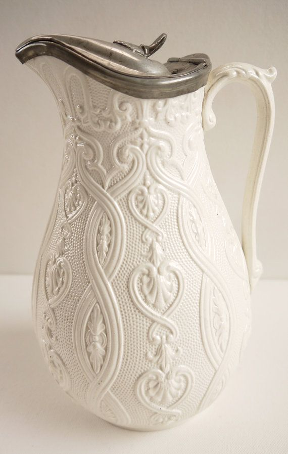 victorian pitchers | Victorian Salt Glaze Pitcher Creamware Jug Relief Mould Antique