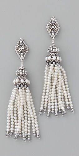 Pearl Tassel earrings with pyrite quartz: Wedding Inspiration, Tassels Earrings, Pearls Tassels, Miguel Ase, Wedding Jewelry, Pyrit Quartz, Ase Jewelry, Pearls Earrings, Beads Jewelry
