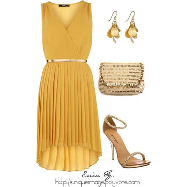 Yellow Pleated Dress, created by uniqueimage on PolyvoreYellow Pleated, Free Gift, Girly Things, Fashion Boards, Dresses Ensemble, Gift Cards, Pleated Dresses, The Dresses, Dresses Dresses