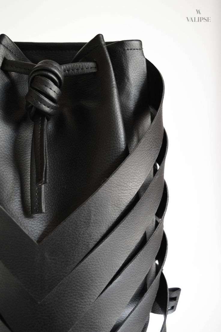 Front detail shot of the 3-in-1 black vegan leather bag   VALIPSE   Handmade cruelty-free product