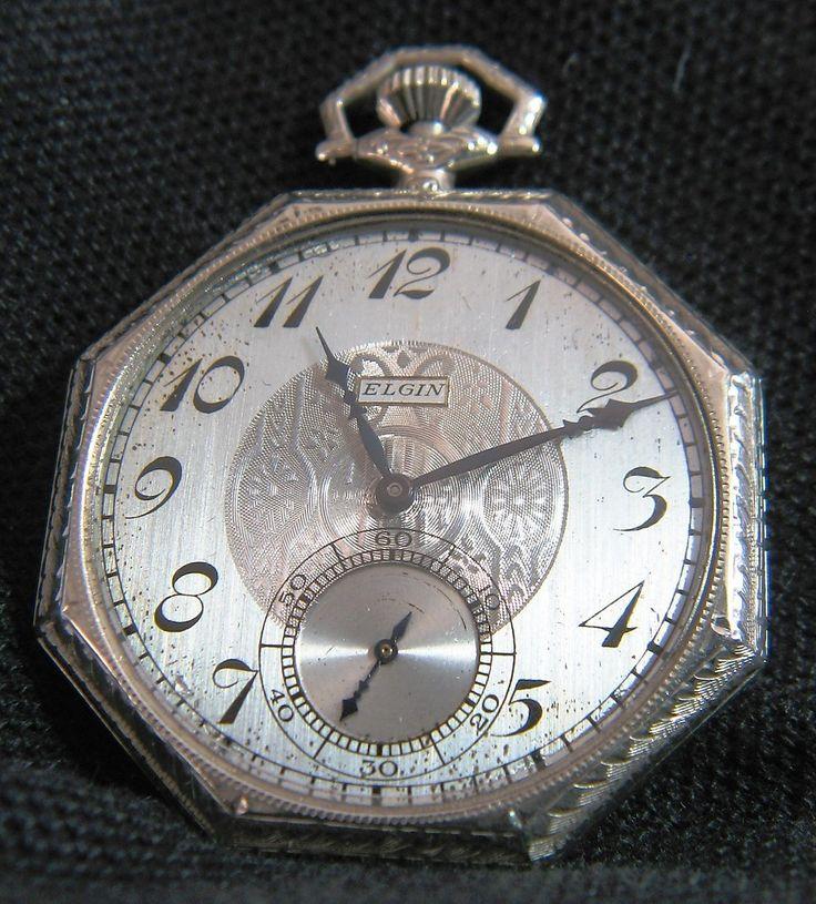 Antique 1924 Elgin Art Deco 14k Solid White Gold Men's Pocket Watch