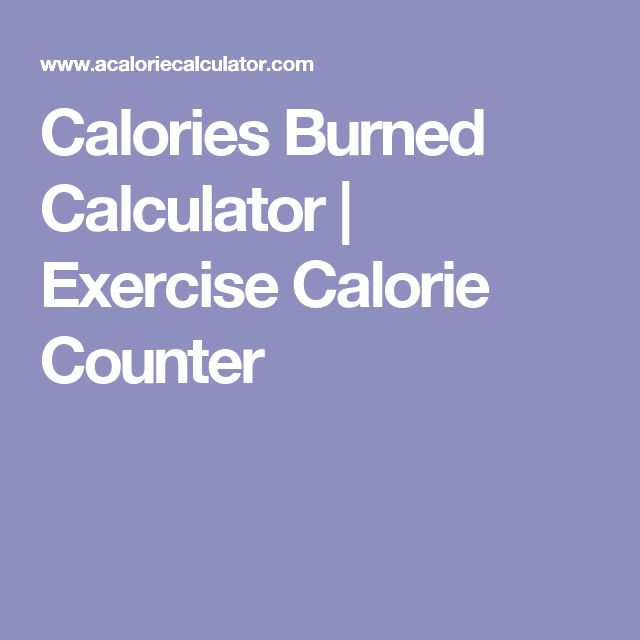 Calories Burned Calculator | Exercise Calorie Counter