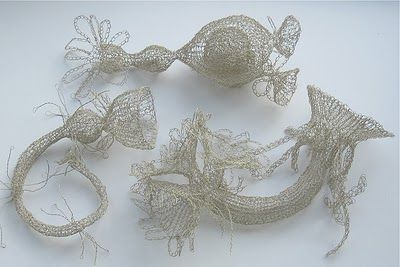 beautiful, ethereal, biologically inspired plankton knitted and crocheted from fine wire, made by the brilliant Anita Bruce.