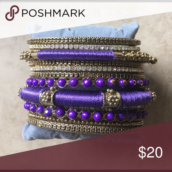 Amrita Singh purple bangles Amrita Singh purple and gold bangles. Amrita Singh Jewelry Bracelets
