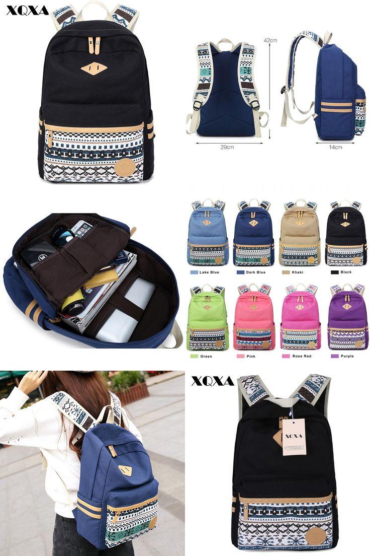 [Visit to Buy] XQXA Vintage Backpack Women Laptop Bag Canvas Printing School Bags for Teenagers Girls Rucksack Mochila Feminina Escolar #Advertisement