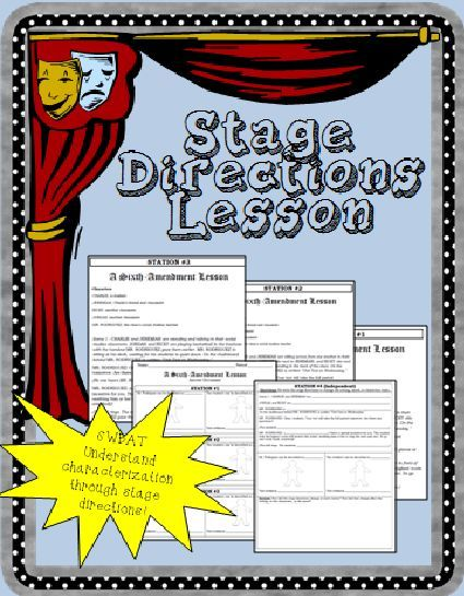 Characterization And Stage Directions Lesson Drama Class