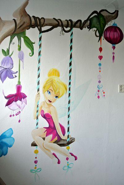 Tinkerbell muurschildering www.janetedensmuurschilderingen.nl