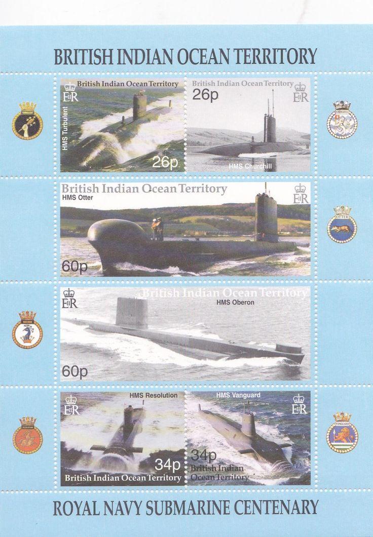 БИОТ **.  2004.   Подводные лодки ВМС Великобритании.  КОРАБЛИ.  п/с. #  260 - 265.   MNH. - 600р