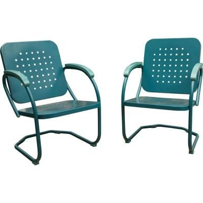 Best Hanover Retro Caribbean Blue 2 Piece Metal Patio Seating 400 x 300