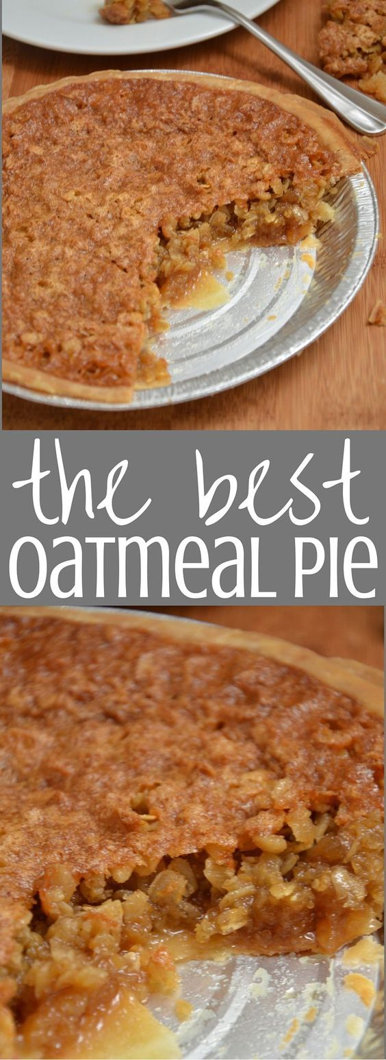 Oatmeal Pie. My grandmother has been making this sweet, chewy, delicious pie for years and we all love it! Perfect for Thanksgiving or any party year round. Give it a try! Clickthrough for the full recipe and more delicious dessert ideas.