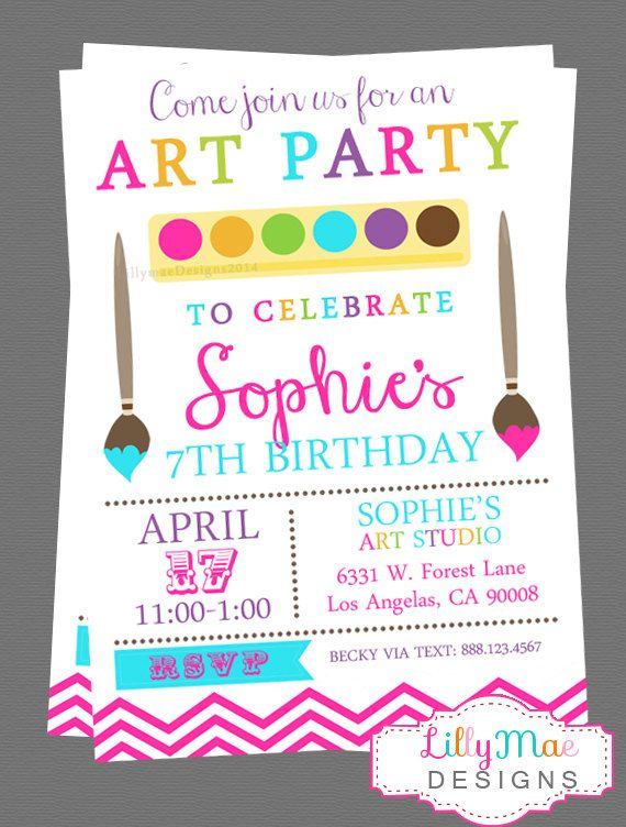 Art Party Invitation Paint Craft Digital Arts And Crafts Printable